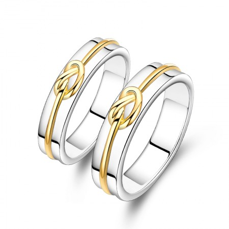 Lover Knot Platinum Plated 925 Sterling Silver Lovers Couple Rings