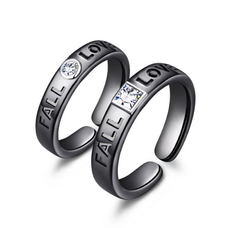 Fall In Love Simple Design Sterling Silver Lovers Couple Rings With Open Loop