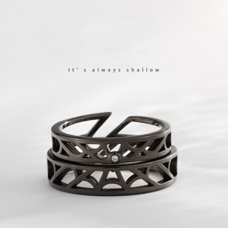 Shallow Fate But Deep Love Korean Simple Design Lovers Couple Black Opening Rings