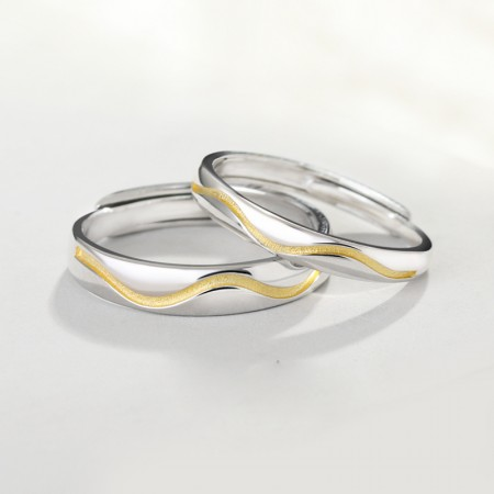 Golden Line Of Love 925 Sterling Silver Original Design Lovers Couple Opening Rings