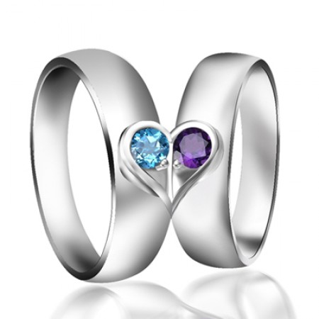 Natural Topaz And Amethyst 925 Sterling Silver Lovers Couple Rings Wedding Rings