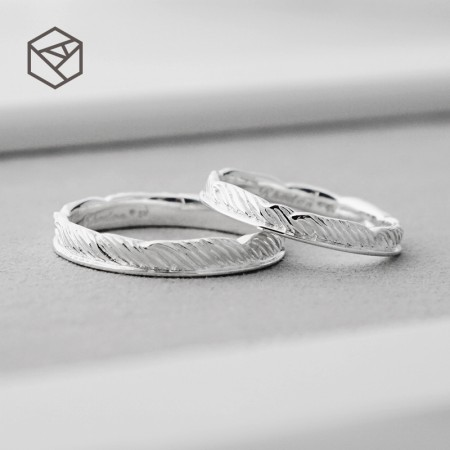 Flight Feather 925 Sterling Silver Lovers Couple Rings