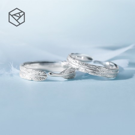 Touch The Heart Feather Series 925 Sterling Silver Opening Lovers Couple Rings