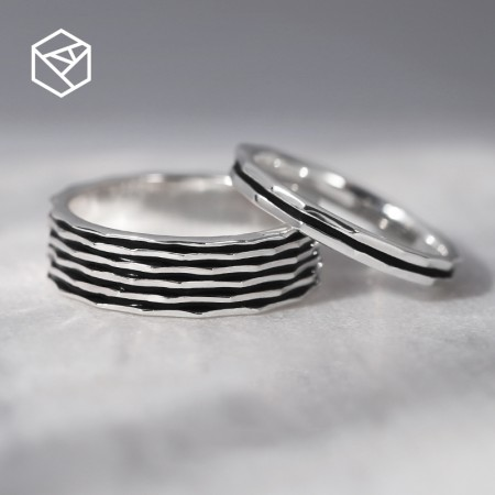 Black Enamel Original Design 925 Sterling Silver Lovers Couple Rings