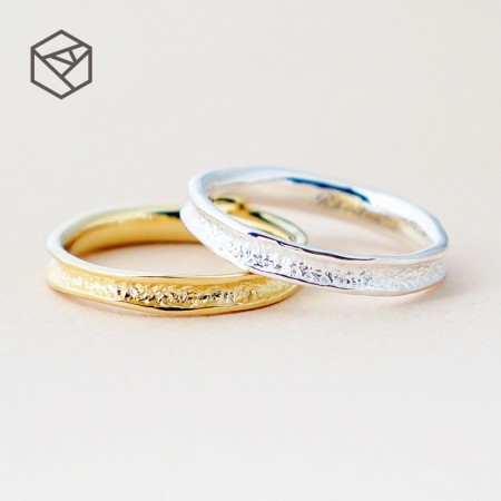 Stone Surface Texture Original Simple Design 925 Sterling Silver Lovers Couple Rings