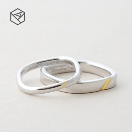 Square Shape Color Separation Original Design 925 Sterling Silver Lovers Couple Rings