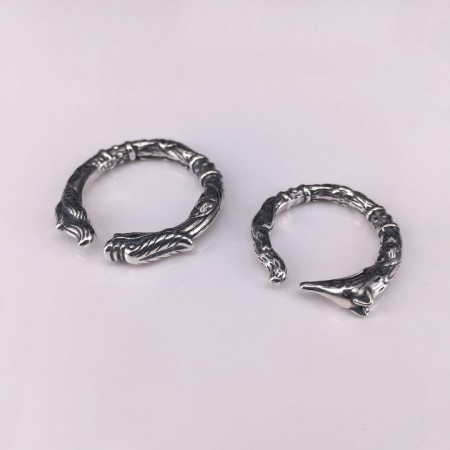 Retro Dragon Head Fox Sterling Silver Lovers Couple Opening Rings