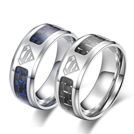 Superman Carbon Fibre Titanium Steel Man Ring