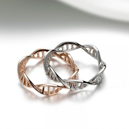 DNA Double Helix Structure Titanium Steel Unisex Rings