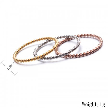 Romantic Twist Braid Shape Titanium Steel Elegant Lady's Rings