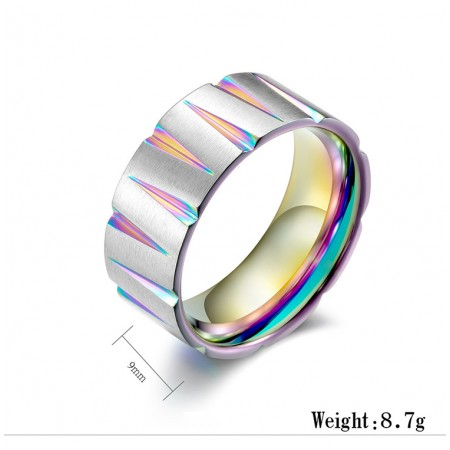 Colorful Wire-Drawing Titanium Steel Cone Shape Man Ring
