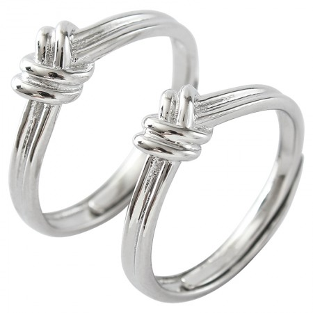 Personalized Tie The Knot Original Design 925 Sterling Silver Lovers Couple Rings
