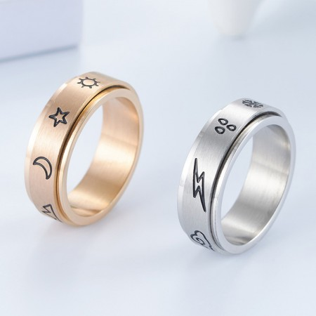 Natural And Weather Symbols Rotatable Titanium Steel Man Ring Woman Ring