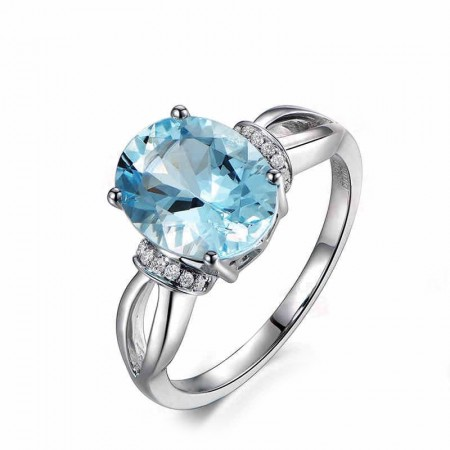 Natural Topaz s925 Sterling Silver Promise Ring Wedding Ring Lady's Ring