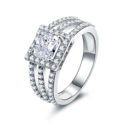 Fashionable SONA Diamond 925 Sterling Silver Engagement/Wedding Lady's Ring