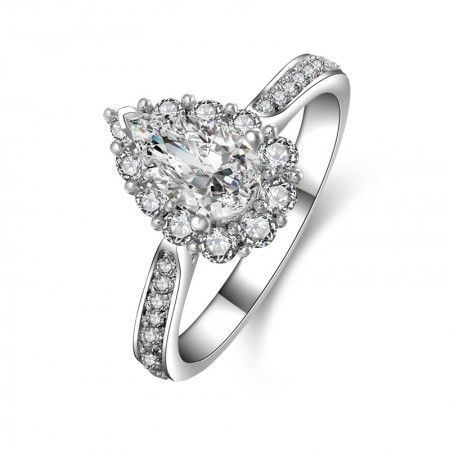 Sparking SONA Diamond Water Drop-Shaped 925 Sterling Silver Lady's Ring