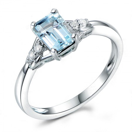 Blue Topaz 925 Sterling Silver Lady's Engagement/Wedding Ring