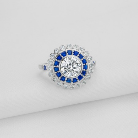 Round-Shaped Inlaid With Delicate Diamonds Sterling Silver Lady's Ring