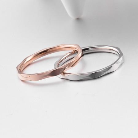 Korean Style Diamond-Shaped Stripe Titanium Steel Man Ring Woman Ring