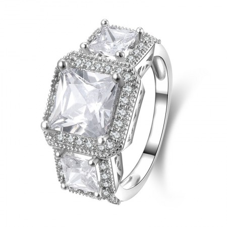 Finest SONA Diamonds 925 Sterling Silver Lady's Engagement/Wedding Ring