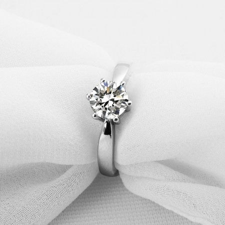 Classic Single Headed Six Claw Sterling Silver Promise Engagement Ring For Her
