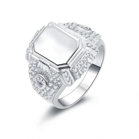 High End Sterling Silver Geometric Shape Engagement/Wedding Ring For Him