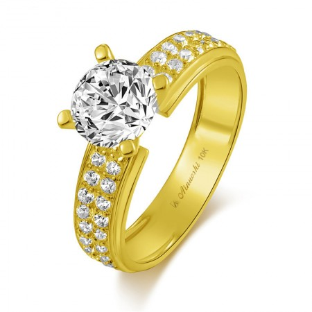 10k Gold SONA Diamonds Classic Engagement/Wedding Ring For Her