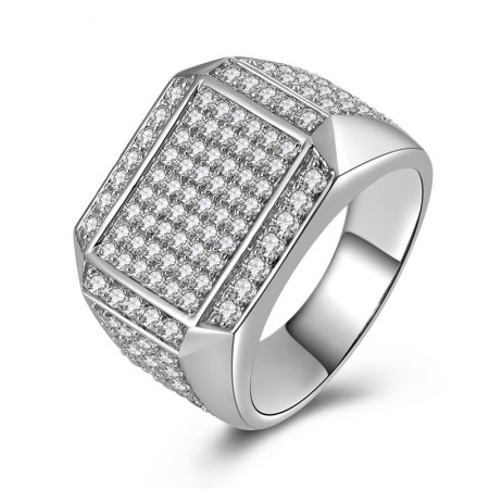 Luxurious 925 Sterling Silver Cubic Zirconia Man's Engagement/Wedding Ring