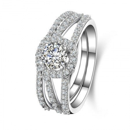 Round Shape SONA Diamond s925 Sterling Silver Engagement/Wedding Ring For Her
