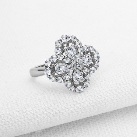 Flower-Shaped Zircon Sterling Silver Lady's Engagement/Wedding Ring
