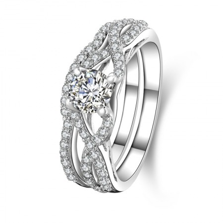Round Shape SONA Diamonds Sterling Silver Lady's Engagement/Wedding Ring