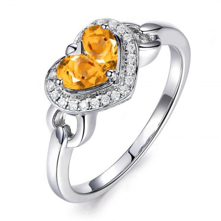 Citrine Heart-Shaped Sterling Silver Promise Ring Wedding Ring For Her