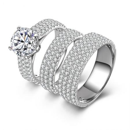 SONA Diamonds Cubic Zirconia Sterling Silver Promise Wedding Couple Rings