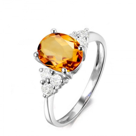 Personalized Oval Citrine Sterling Silver Lady's Engagement/Wedding Ring