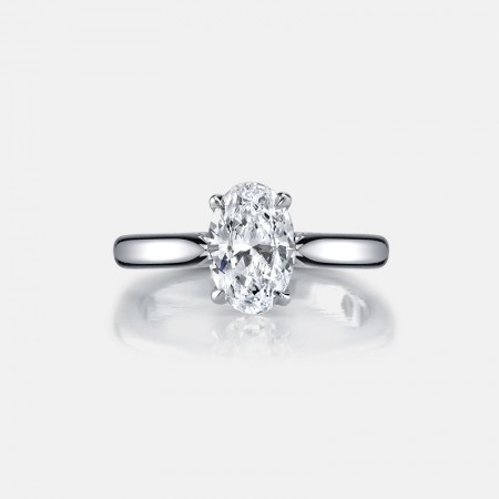 Oval SONA Diamonds Sterling Silver Lady's Promise Ring Wedding Ring