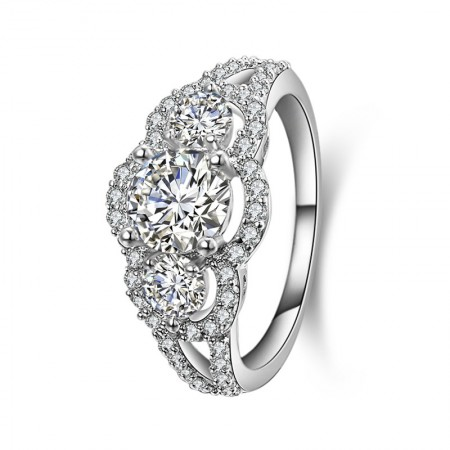 Round-Shaped Cubic Zirconia Sona Diamonds Sterling Sliver Lady's Ring
