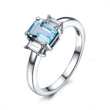 Topaz s925 Sterling Silver Customized Promise Ring Wedding Ring For Her