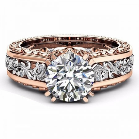 Hot Sell 14k Rose Gold Plated Alloy Color Separation Lady's Ring