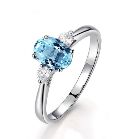 Natural Blue Topaz s925 Sterling Silver Lady's Promise Ring Wedding Ring