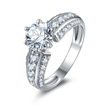 High-End Simulated Diamonds Sterling Silver Lady's Engagement/Wedding Ring