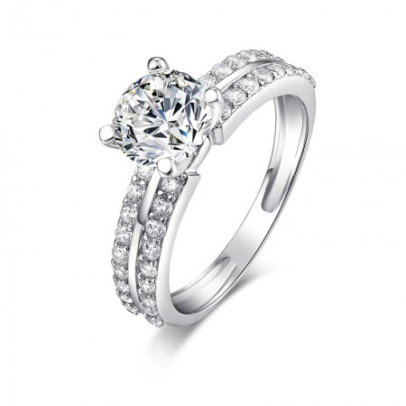 Korean Style SONA Diamonds Sterling Silver Lady's Promise Ring Wedding Ring