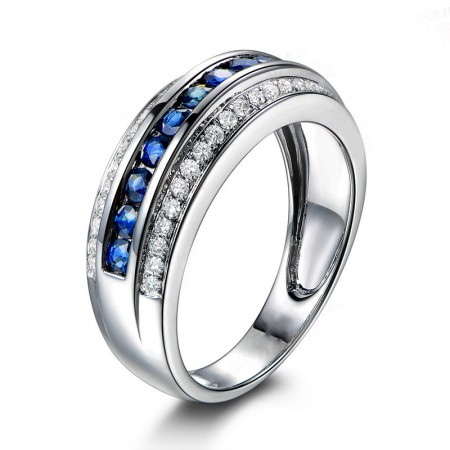 Personalized Blue Gemstone Sterling Silver Lady's Promise Ring Wedding Ring