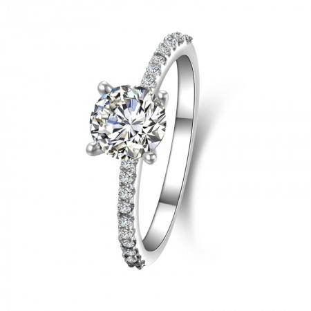 Round-Shaped Four Claw SONA Diamonds Sterling Silver Lady's Ring