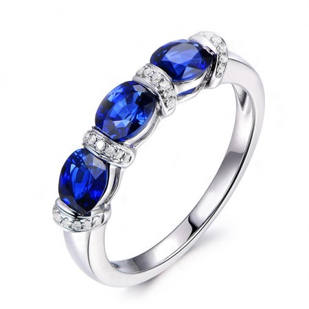 Personalized Sapphire Sterling Silver Lady's Engagement/Wedding Ring