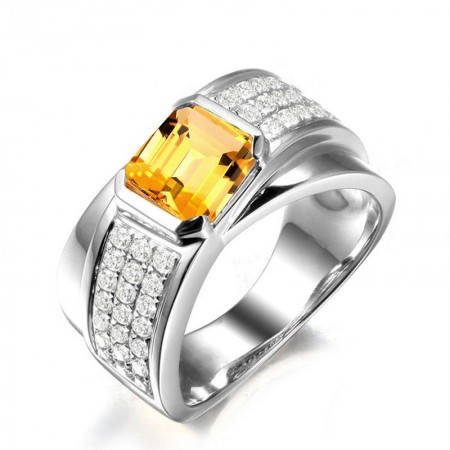 SONA Diamonds Citrine s925 Sterling Silver Lady's Engagement/Wedding Ring