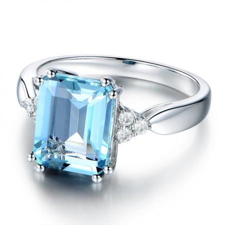 Blue Topaz s925 Sterling Silver Promise Ring Wedding Ring For Her