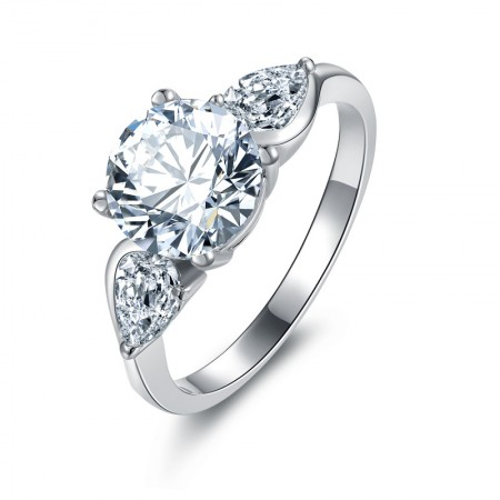 Wing Design SONA Diamonds Sterling Silver Lady's Promise Ring Wedding Ring