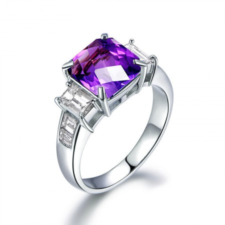 Natural Amethyst s925 Sterling Silver Lady's Engagement/Wedding Ring