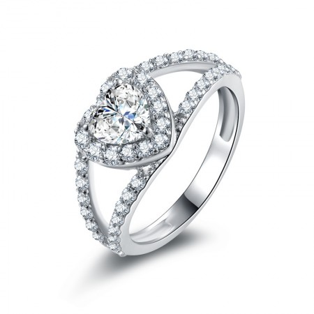 Heart-Shaped SONA Diamonds Sterling Silver Lady's Promise Ring Wedding Ring