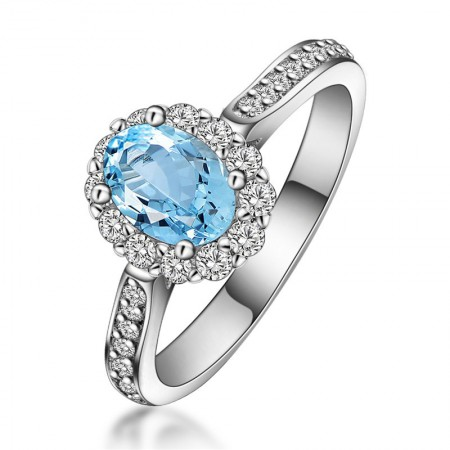 Natural Oval Topaz s925 Sterling Silver Lady's Engagement/Wedding Ring